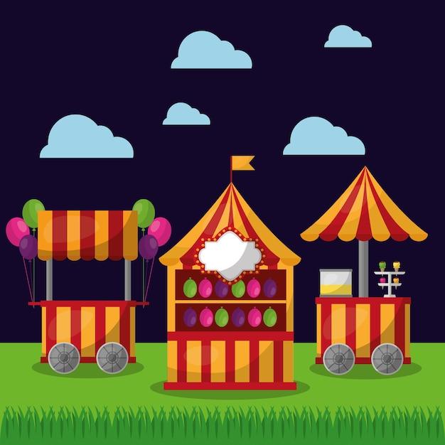 Karnawałowe Stoisko żywności I Lody Wesołe święto Festiwalu Premium Wektorów