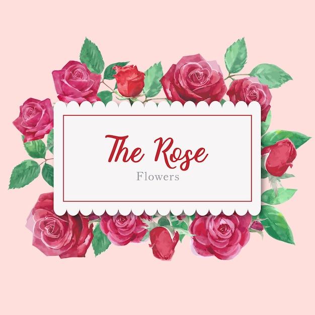 Karta akwarela kwiaty róży Darmowych Wektorów