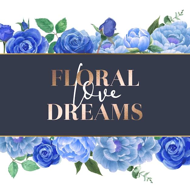 Karta akwarela niebieskie kwiaty róży Darmowych Wektorów