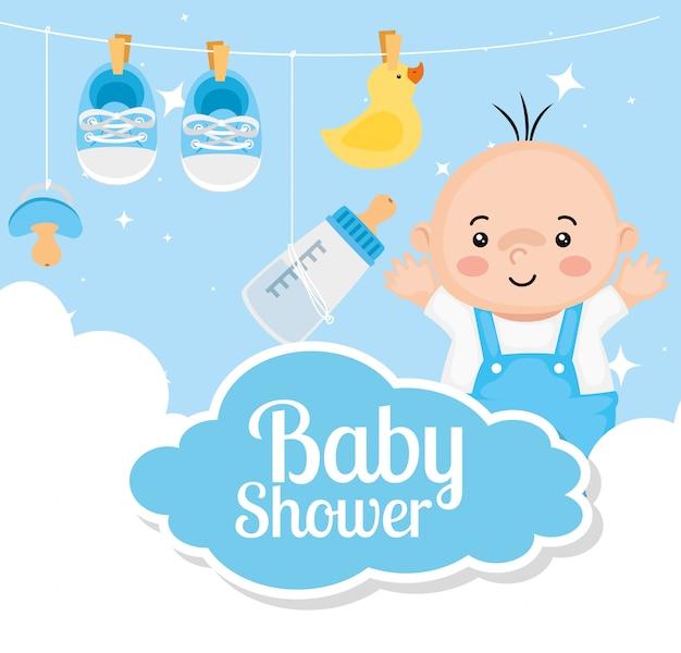 Karta Baby Shower Z Chłopca I Dekoracji Premium Wektorów
