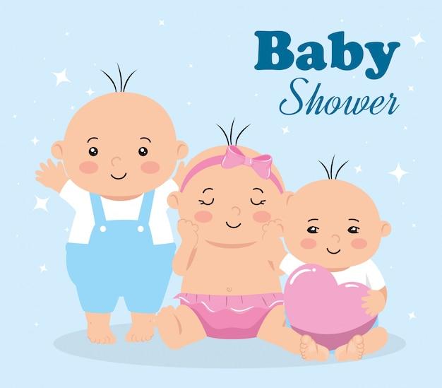 Karta Baby Shower Z Grupą Dzieci Premium Wektorów