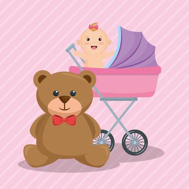 Karta baby shower z małą dziewczynką Darmowych Wektorów