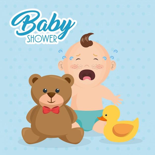 Karta baby shower z małym chłopcem Darmowych Wektorów