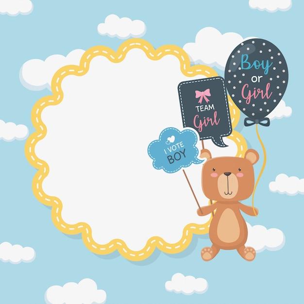 Karta baby shower z małym misiem i balonem helem Darmowych Wektorów