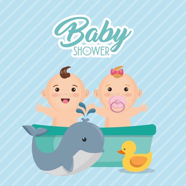 Karta baby shower z małymi dziećmi Darmowych Wektorów