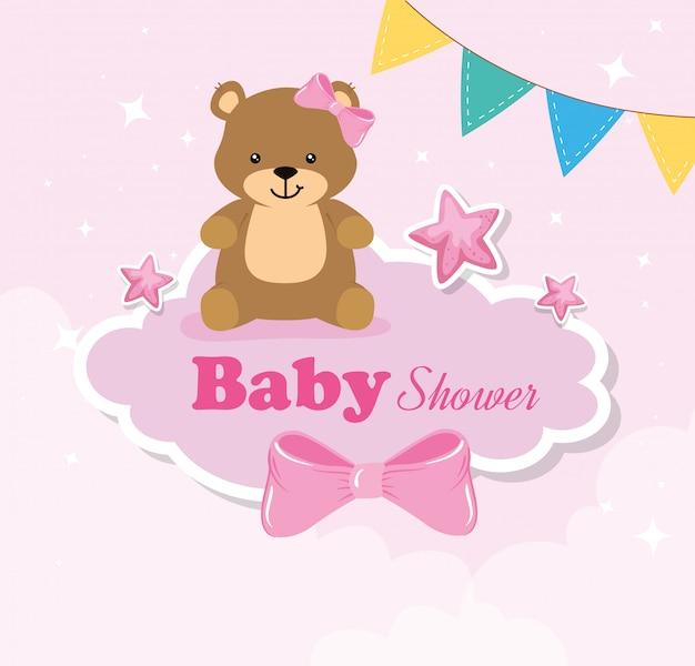Karta Baby Shower Z Niedźwiedziami I Elementami Premium Wektorów