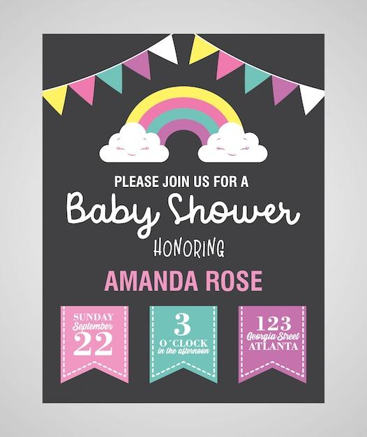 Karta Baby Shower Z Proporczykami I Tęczą Premium Wektorów