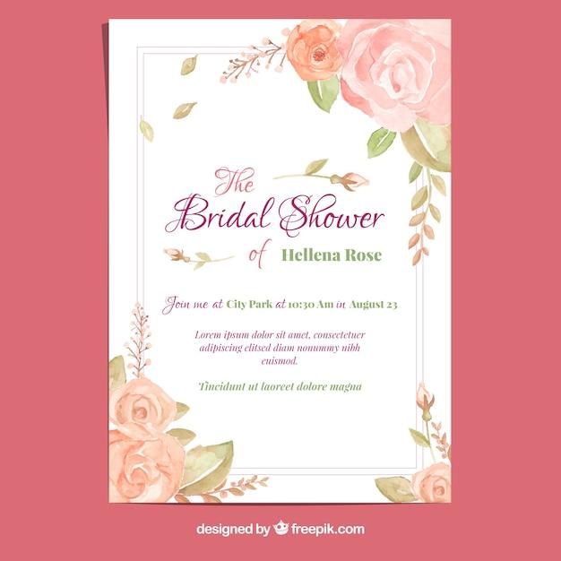 Karta Bachelorette z różami akwarelowymi Darmowych Wektorów