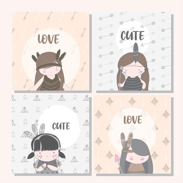 Karta boho kolekcja cute girl dla dziecka Premium Wektorów