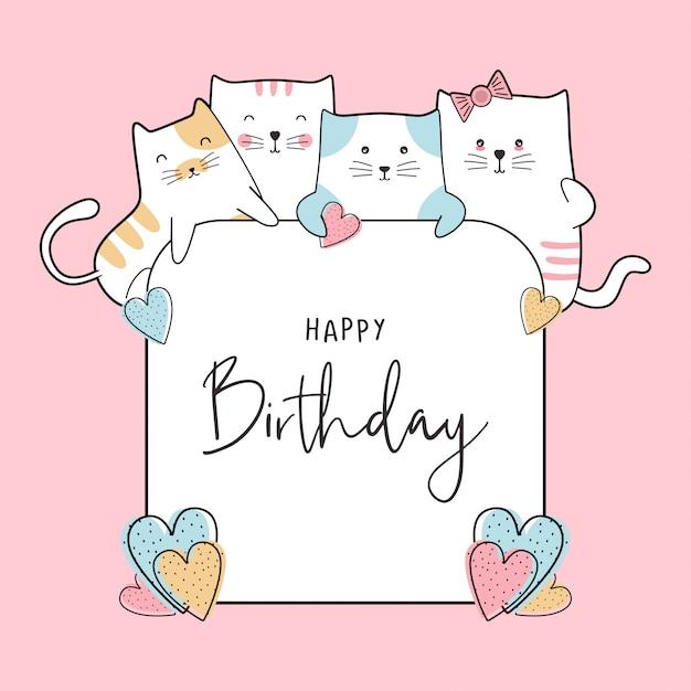 Karta Celebracja Urodziny Z Cute Baby Koty Rysunek Premium Wektorów
