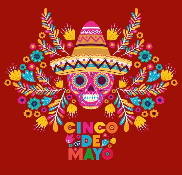 Karta cinco de mayo z czaszką i kapeluszem Premium Wektorów