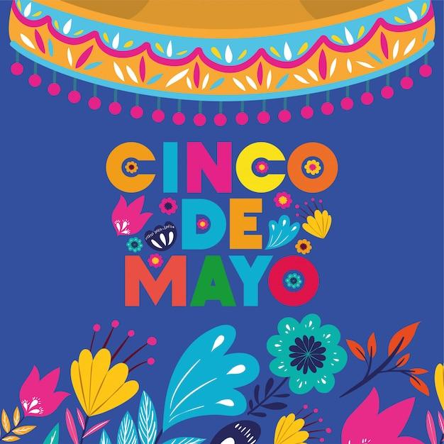 Karta cinco de mayo z kwiatami i kapeluszem Premium Wektorów