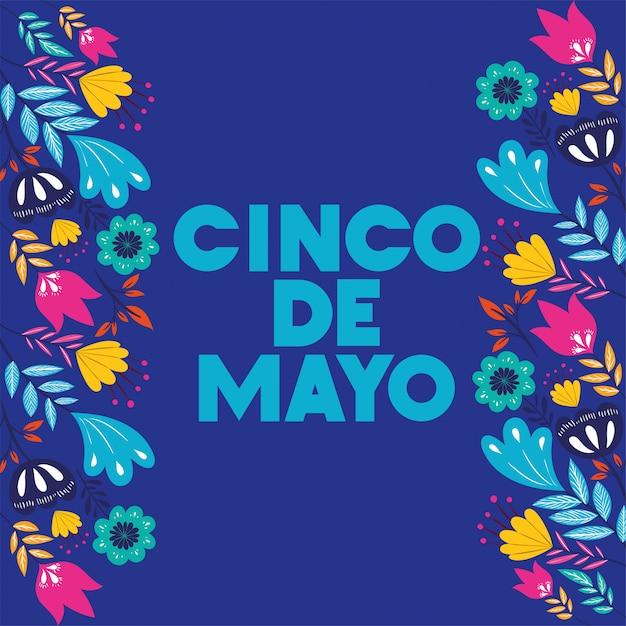 Karta Cinco De Mayo Z Kwiatową Ramką Premium Wektorów