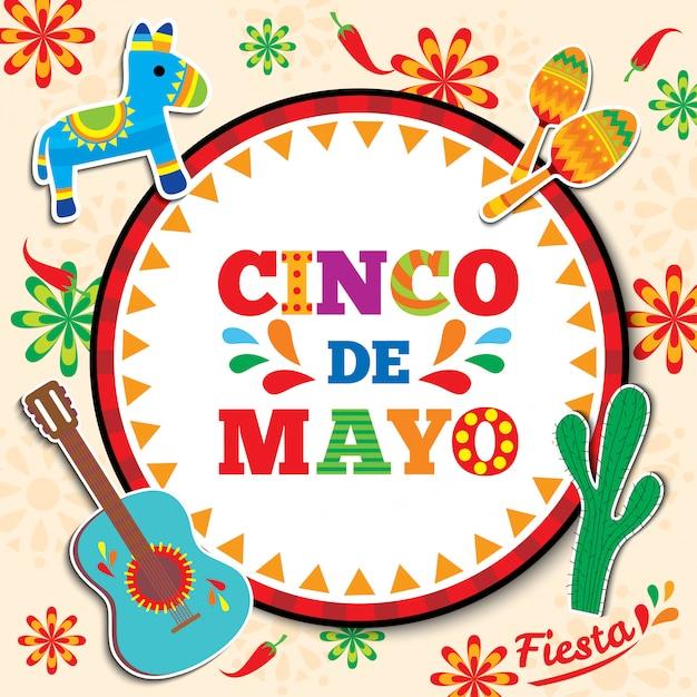 Karta Cinco De Mayo Premium Wektorów
