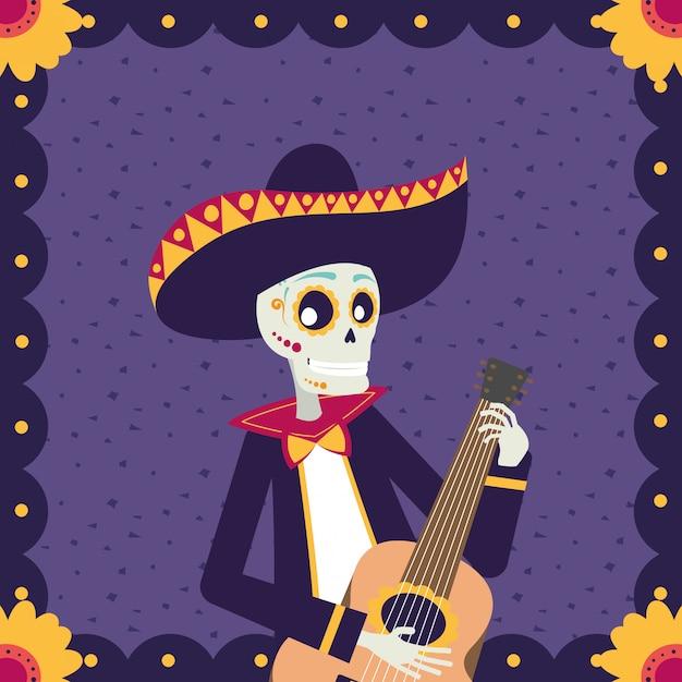 Karta dia de los muertos z czaszką mariachi grającą na gitarze Premium Wektorów