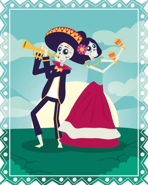 Karta dia de los muertos z mariachi grającymi na trąbce i katrina Premium Wektorów