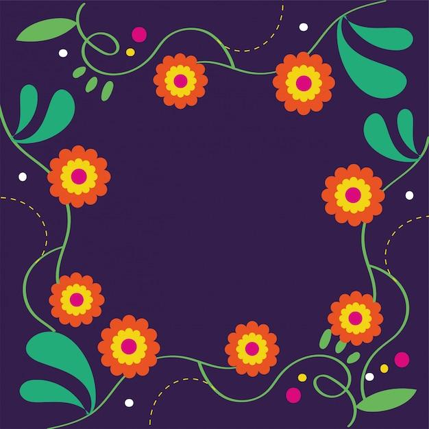 Karta dia de muertos z kwiatową dekoracją Darmowych Wektorów