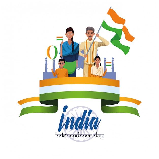 Karta dnia niepodległości indii Darmowych Wektorów