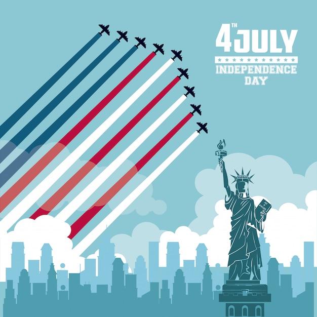 Karta dnia niepodległości usa Premium Wektorów