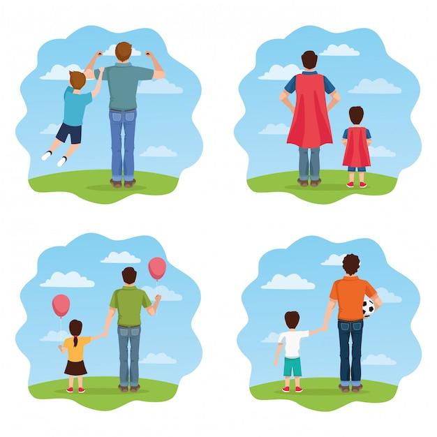 Karta Dnia Ojca Z Postaciami Tatusiów I Dzieci Premium Wektorów