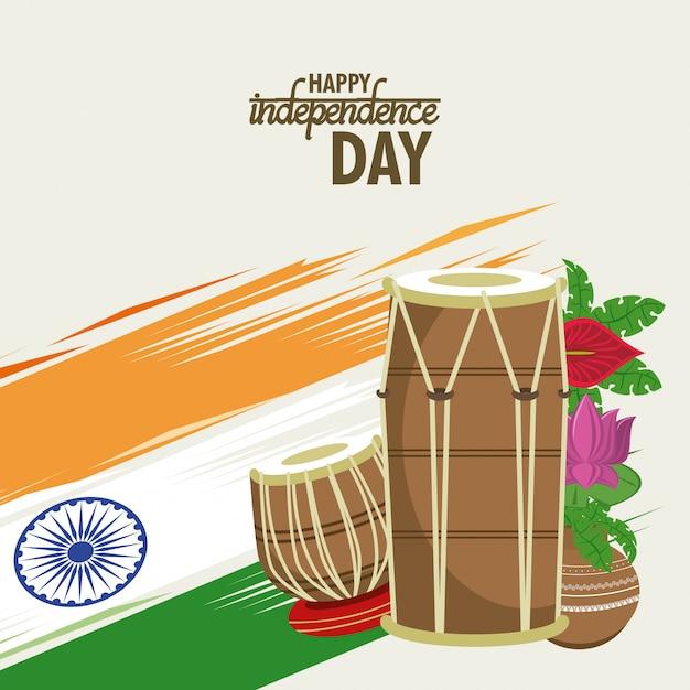 Karta dzień niepodległości indii kolorowy Darmowych Wektorów