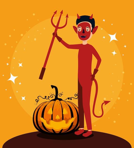 Karta halloween z charakterem dyni i diabła Darmowych Wektorów
