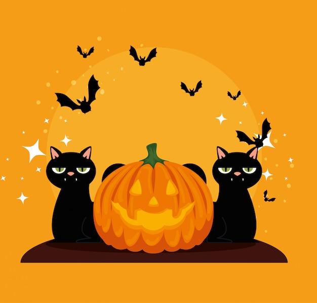Karta halloween z czarnymi dyniami i kotami Darmowych Wektorów
