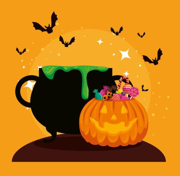 Karta halloween z kociołkiem i dynią Darmowych Wektorów