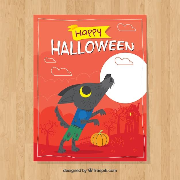 Karta halloween z mężczyzną wilka i księżyc w pełni Darmowych Wektorów