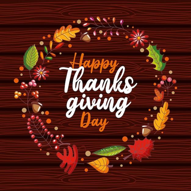 Karta Happy Thanskgiving Day Z Wieńcem Laurowym Jesienią Premium Wektorów