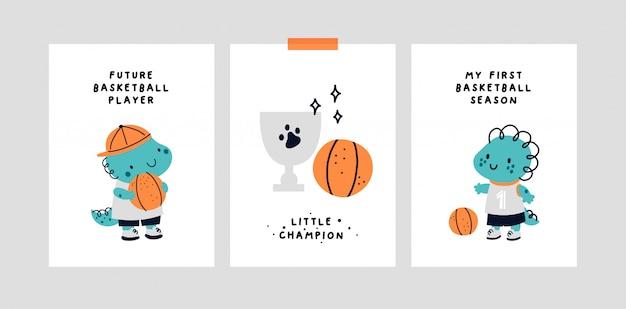 Karta Kamienia Milowego Dziecka. Dinozaur Do Koszykówki. Nadruk Baby Shower, Który Uchwyci Wszystkie Wyjątkowe Chwile Premium Wektorów