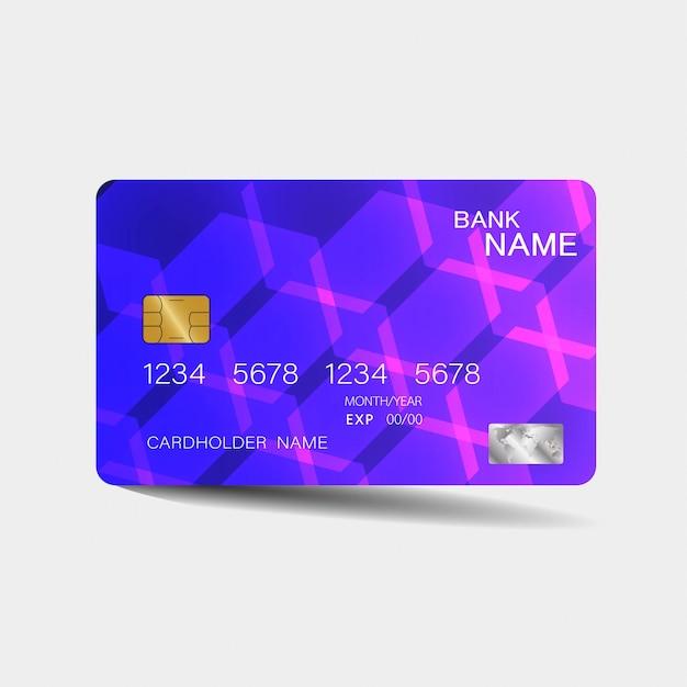 Karta Kredytowa. Z Fioletowymi Elementami. Inspiracja Abstrakcyjna. . Błyszczący Plastikowy Styl. Premium Wektorów