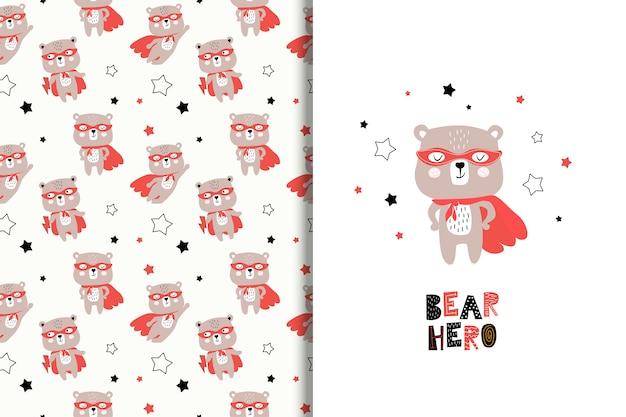 Karta kreskówka niedźwiedź super bohater i wzór Premium Wektorów