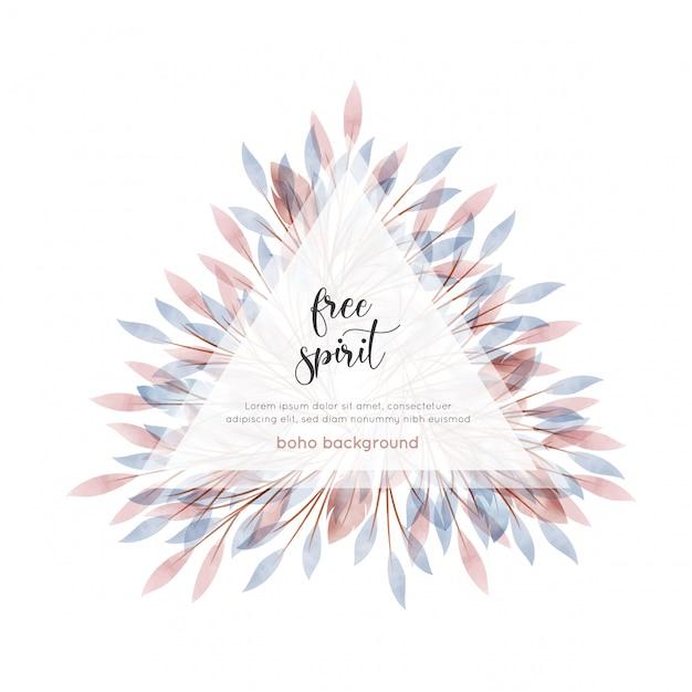 Karta kwiatowy akwarela stylu cyganerii Premium Wektorów