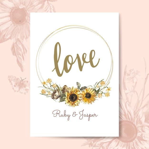 Karta kwiatowy makieta miłości Darmowych Wektorów