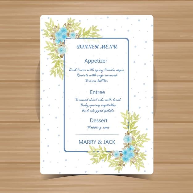 Karta Kwiatowy Menu Na Wesele Z Piękne Niebieskie Róże Wektor