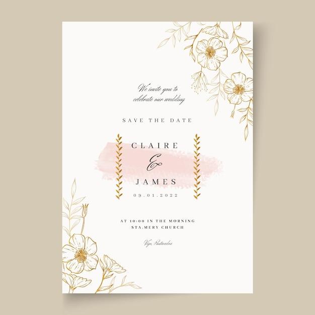 Karta Kwiatowy ślub Premium Wektorów