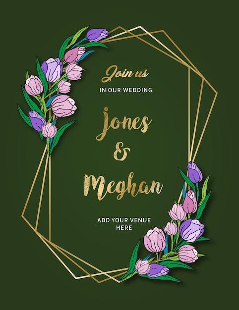 Karta Kwiatowy Zaproszenie Na ślub Premium Wektorów