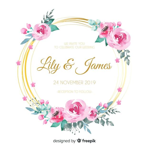 Karta kwiatowy zaproszenie ślubne Darmowych Wektorów
