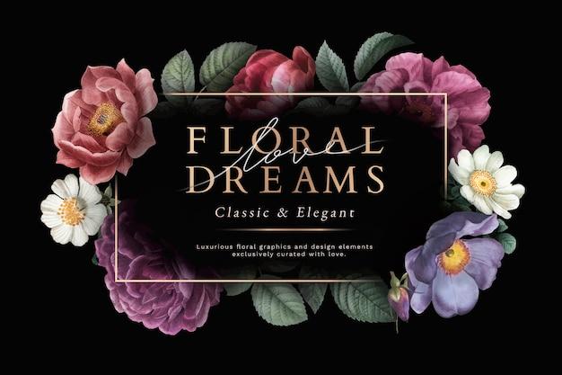 Karta kwiatowych marzeń Darmowych Wektorów
