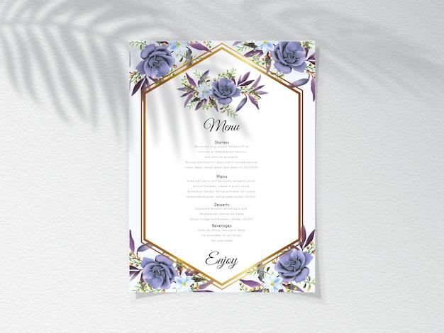Karta Menu Z Eleganckim Wzorem Królewskiej Niebieskiej Róży Premium Wektorów