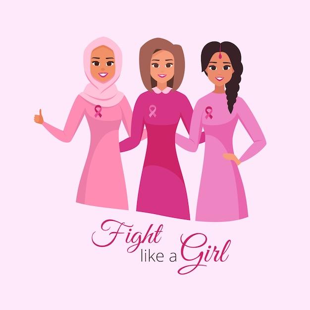 Karta miesiąc świadomości raka piersi. roześmiane kobiety, przytulanie i noszenie różu Premium Wektorów