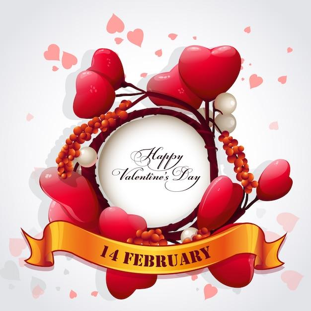 Karta Na Walentynki Z Sercami I świąteczną Wstążką Premium Wektorów