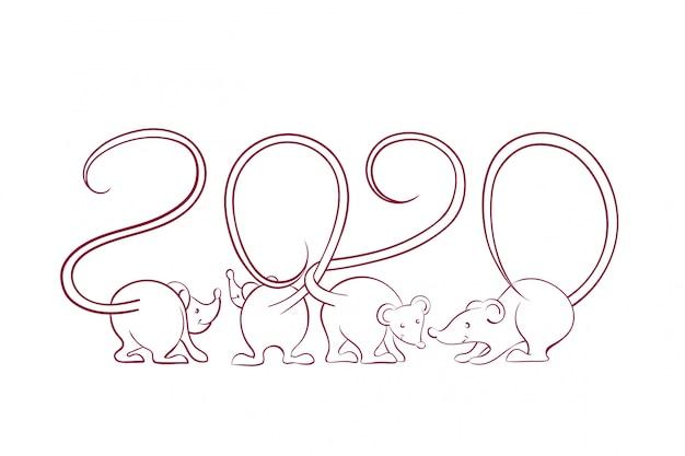 Karta noworoczna 2020 z sylwetkami myszy z ogonami, które przeplatają się w postaci izolowanych liczb Premium Wektorów