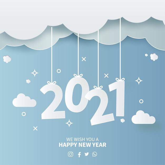 Karta Nowy Rok 2021 Z Tłem Papercut Sky Darmowych Wektorów