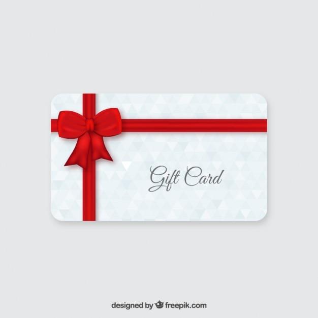 Karta prezent z czerwoną wstążką Darmowych Wektorów