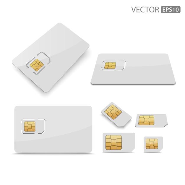 Karta sim na białym tle. Premium Wektorów