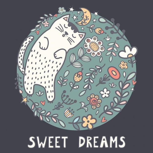 Karta słodkich snów z uroczym śpiącym kotem w roślinach Premium Wektorów