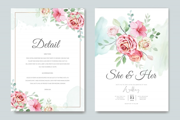 Karta ślub I Karta Zaproszenie Z Pięknym Szablonem Róż Premium Wektorów