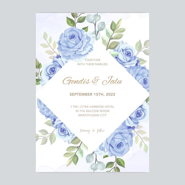 Karta ślub z pięknym kwiatowy szablon akwarela Premium Wektorów